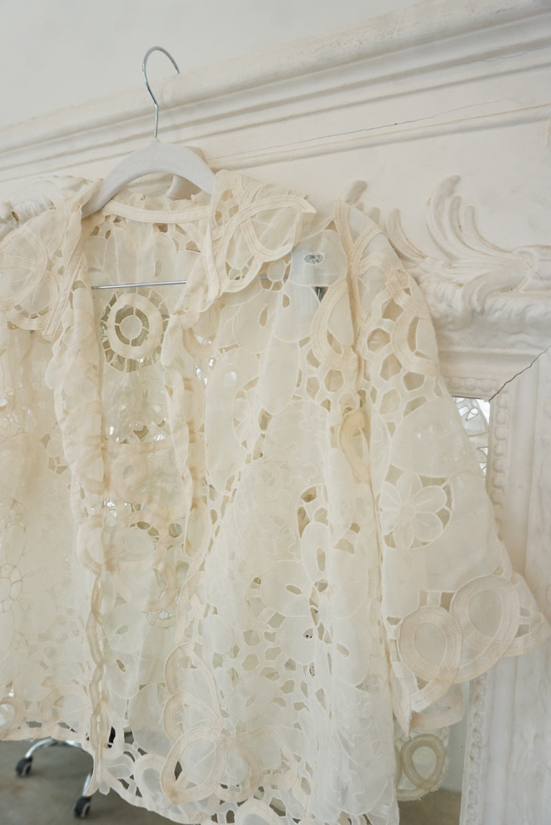 Medium 70's Cream Eyelet Blouse