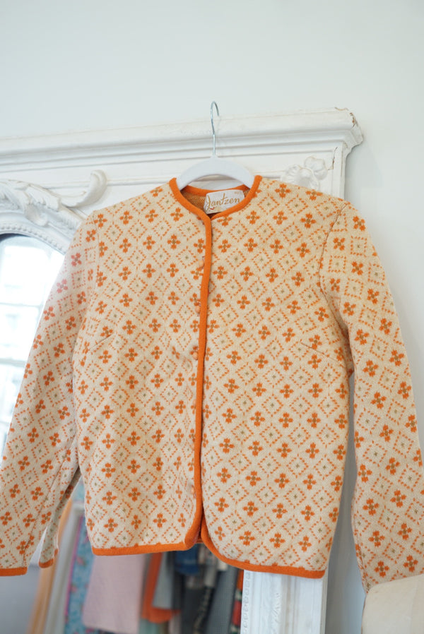 XS 70's Orange Cream Boiled Wool Cardi