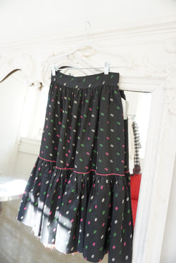 Sz. 26 50's Satin Tiered Printed Skirt