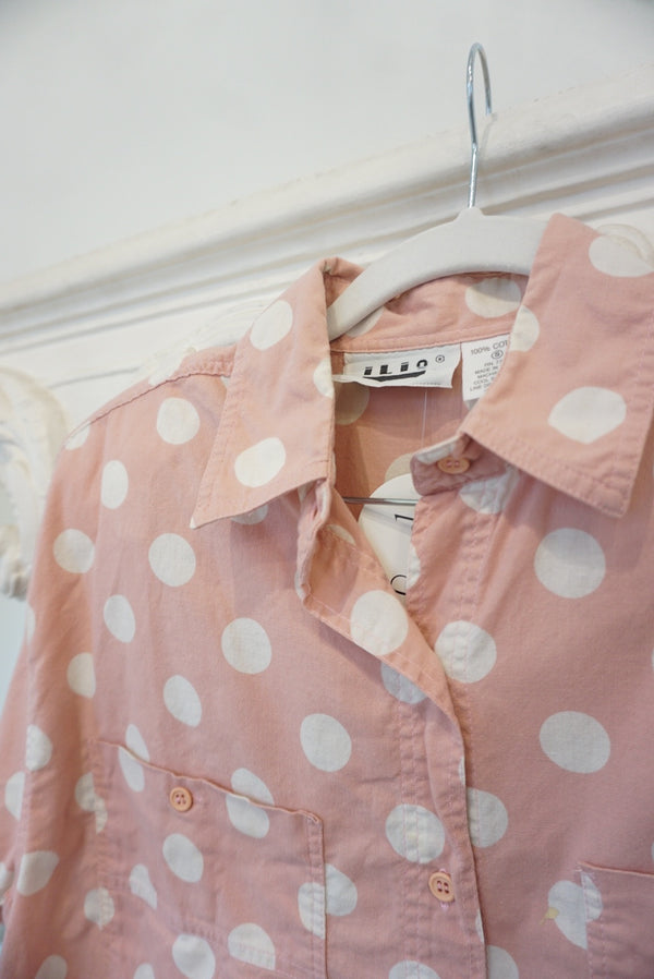Medium 80's Pepto Pink Polka Dot Blouse