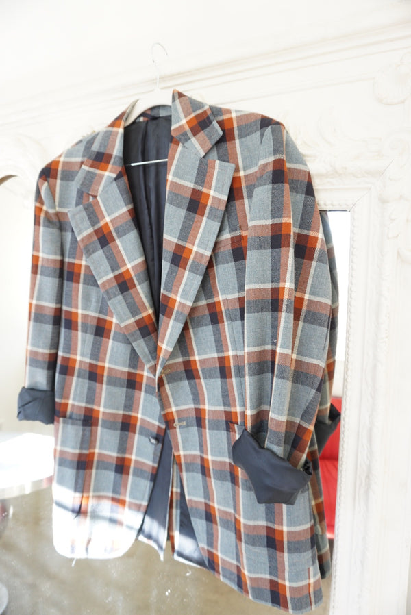 Large 70's Jumbo Plaid Blazer