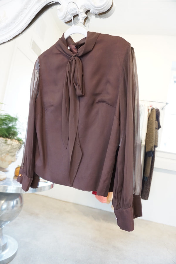 Small 60's Chocolate Sheer Sleeve Blouse