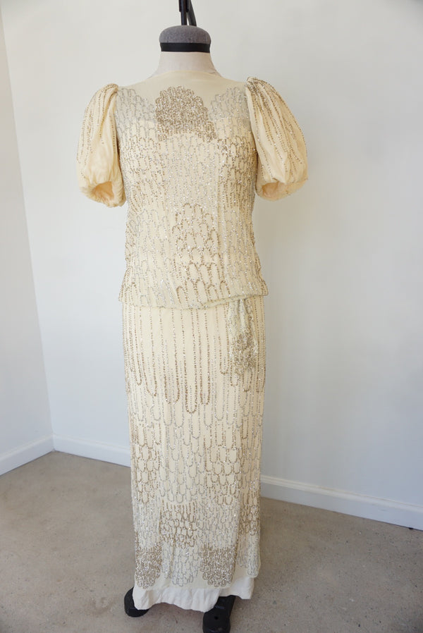 Small Late 70's Glisten Drop Waist Gown