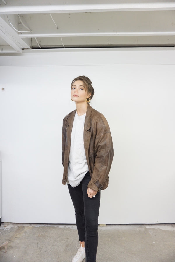 Large 90's Express Leather Bomber