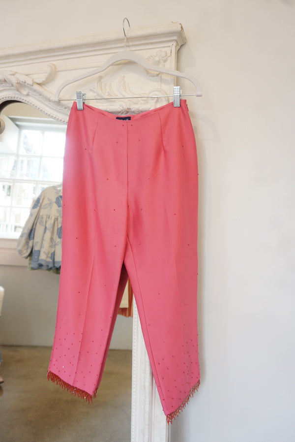90's Hot Pink Beaded Silk Pants