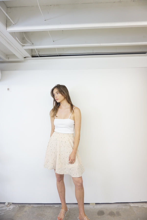 Small Raw Silk Floral Skirt