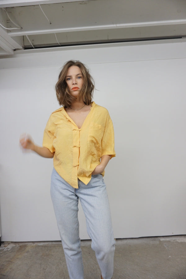 Large Yellow Silk Top