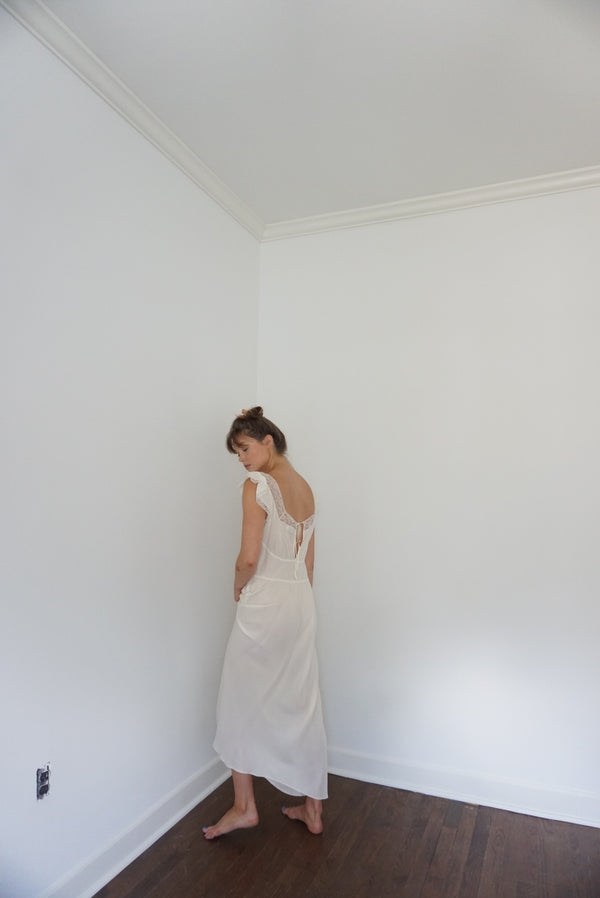 Small/ Med 40s Rayon Slip Dress Ivory