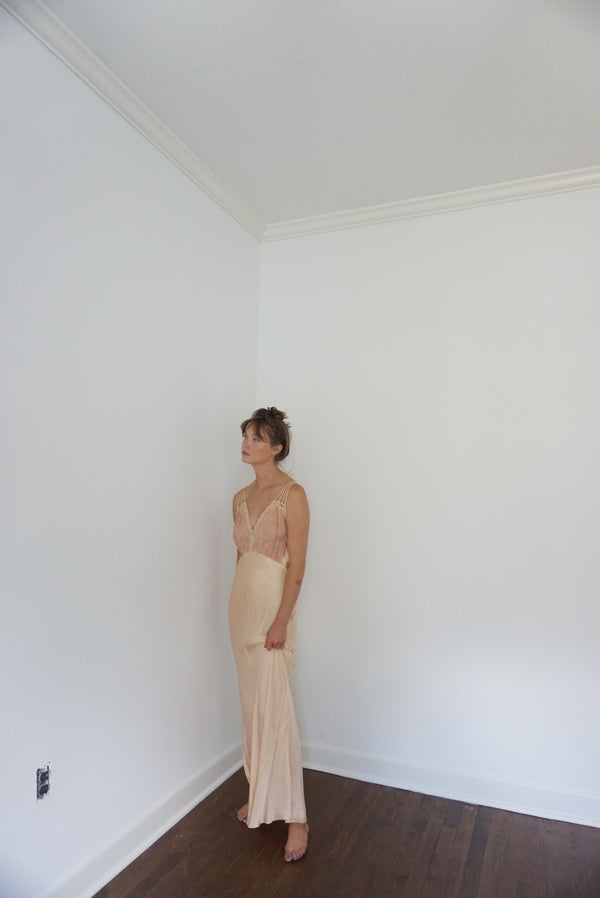 Small /Med Silk & Lace Embroidered Silk Slip Gown