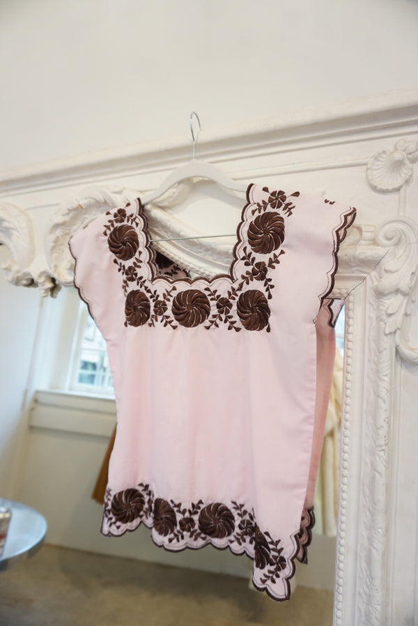 Pink And Chocolate Cotton Embroidered Top
