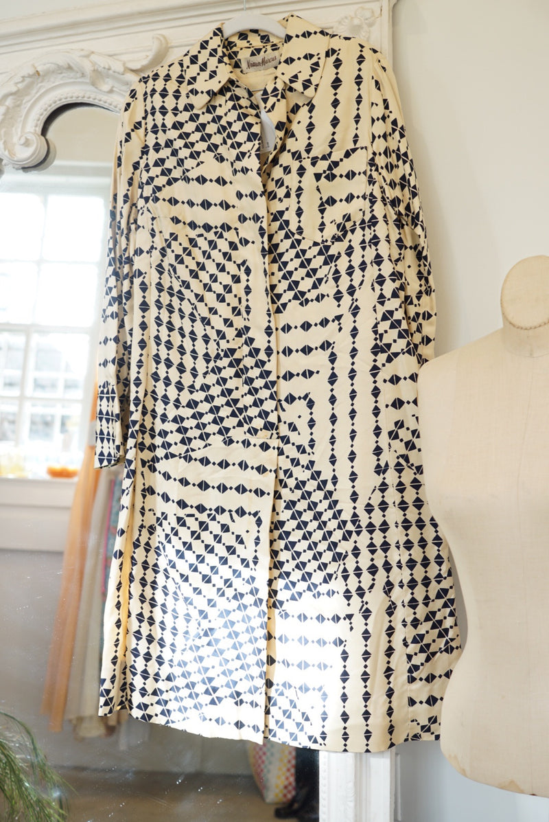 Large Nieman Marcus Silk Printed Day Dress