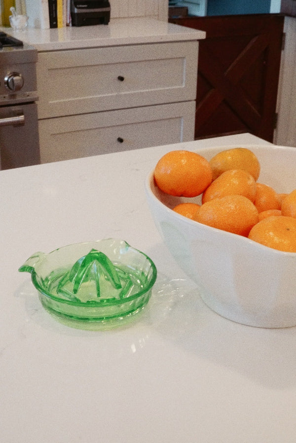 Green Glass Juicing Dish