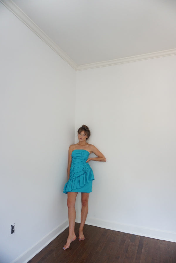0-2 Late 70s Taffeta Bright Blue Ruffle Mini