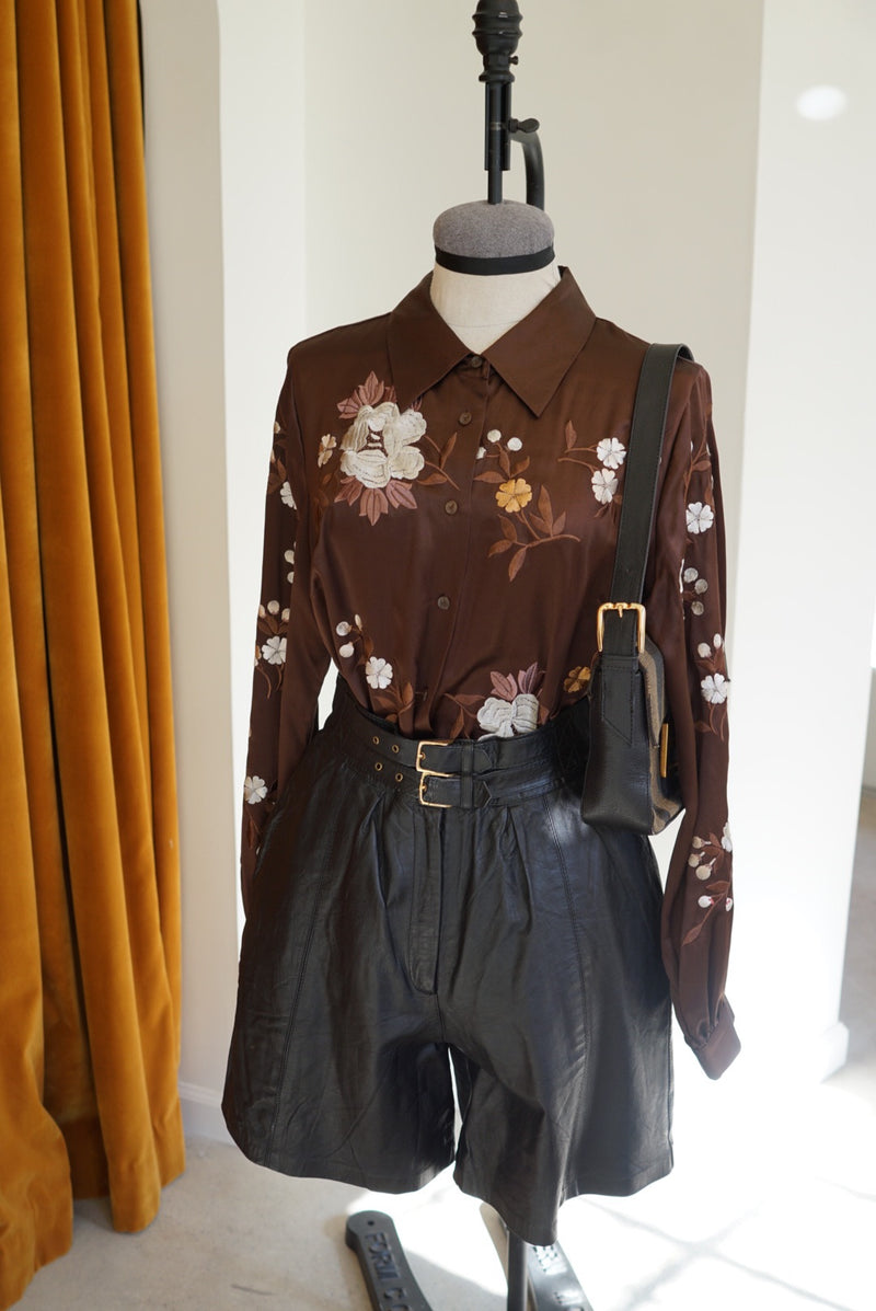 Medium Brown Embroidered Silk Blouse