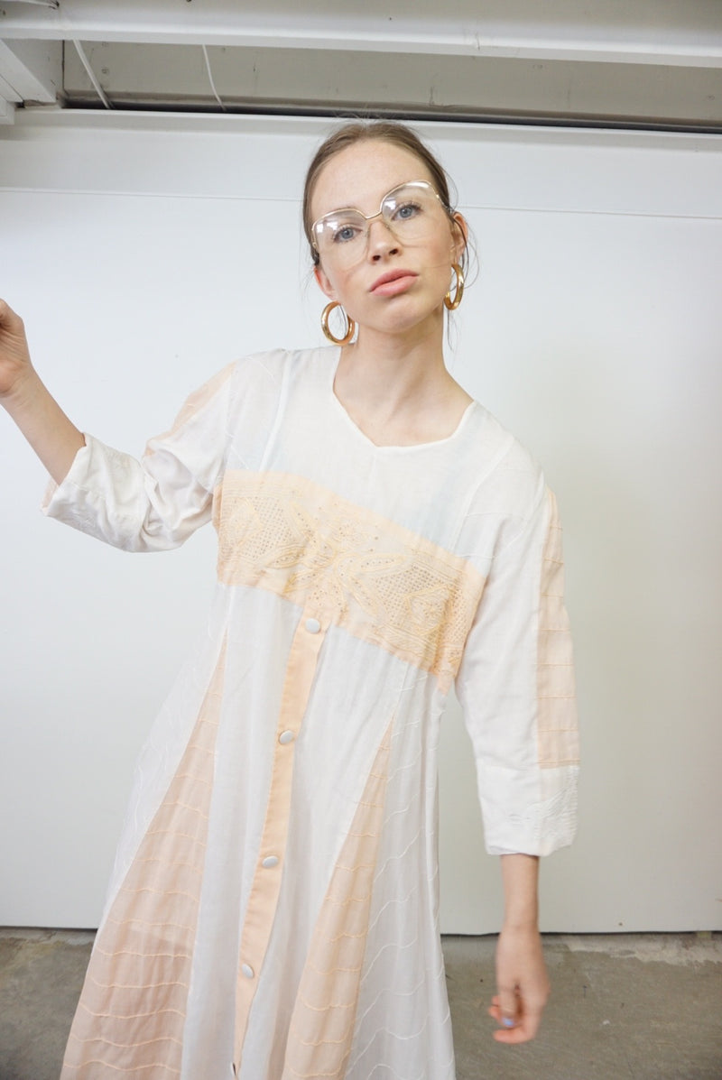 Free size Vintage Victorian Cotton Dress