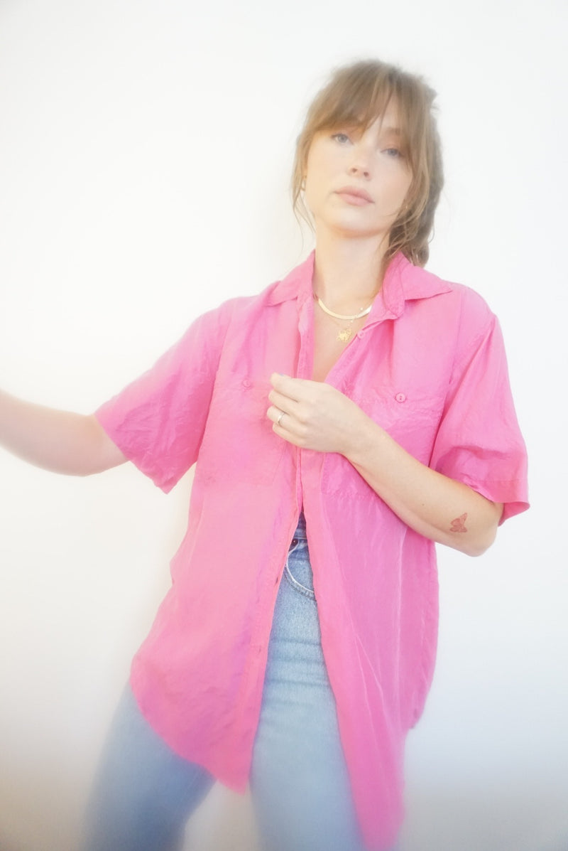 Large 100% Silk Hot Pink Blouse