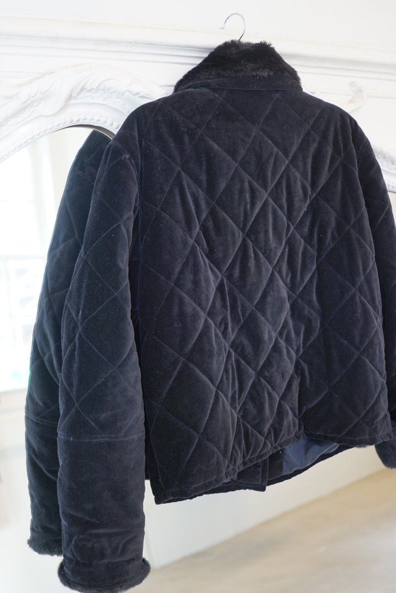 Small Faux Fur Trimmed Quilted Jacket