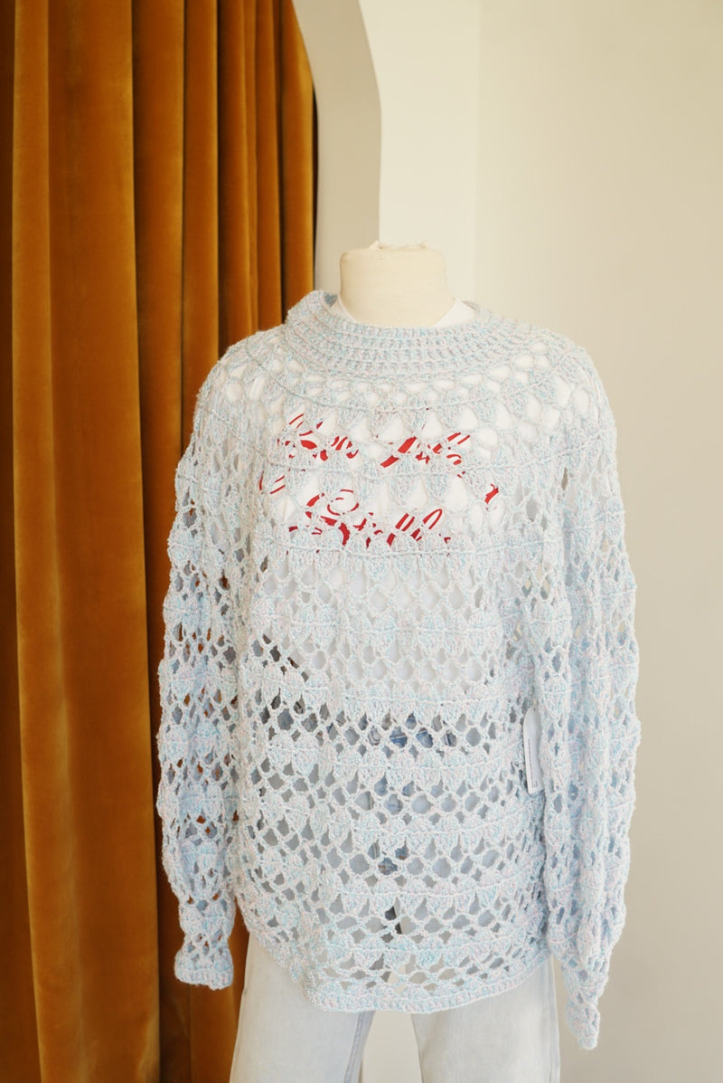 XL Baby Blue Loose Knit Mockneck
