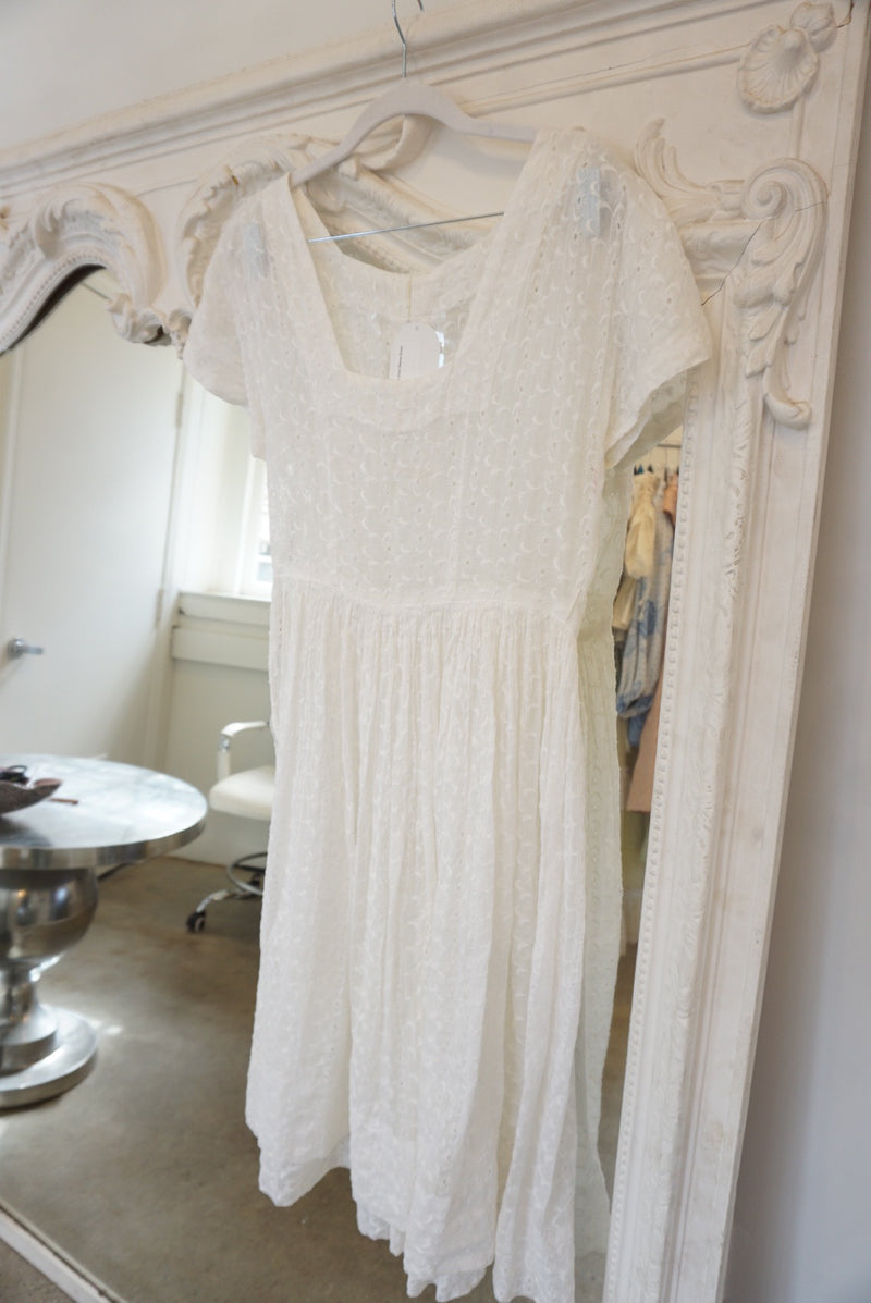 Small/Medium 50's Eyelet Handmade Short Sleeve Dress