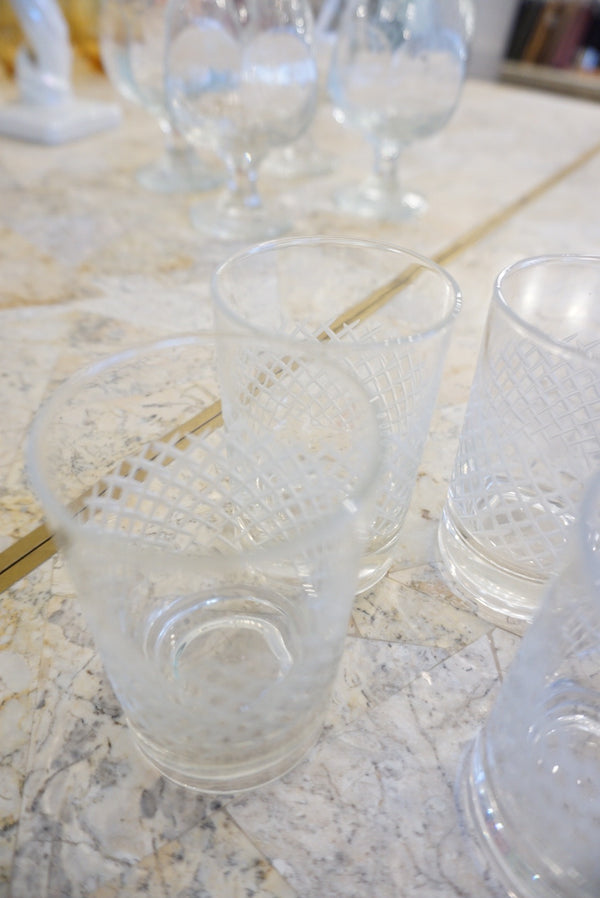 4 Etched Liqour Glass Set