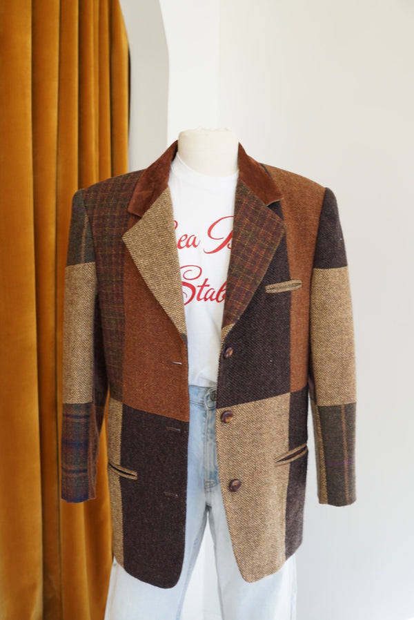 L 80's Plaid Patchwork Blazer
