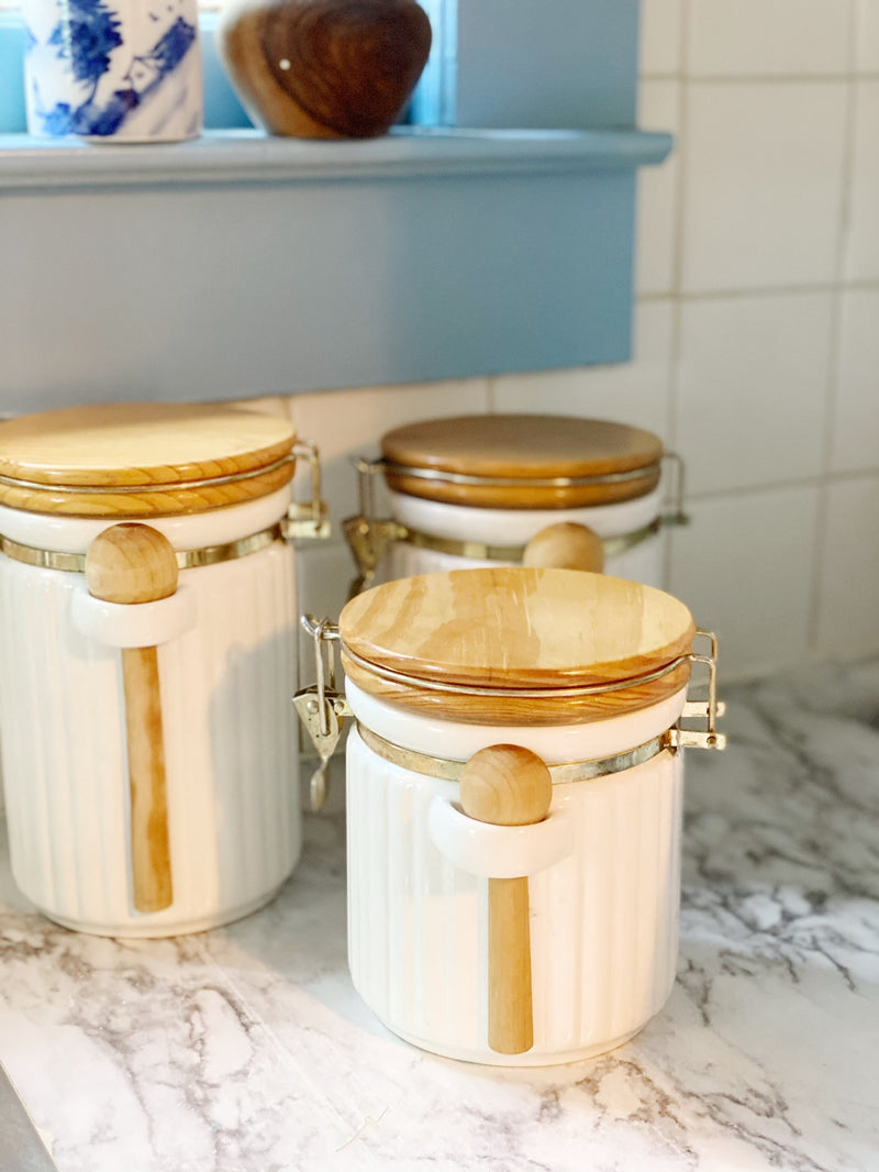 Creamy White and Wood Canister Set