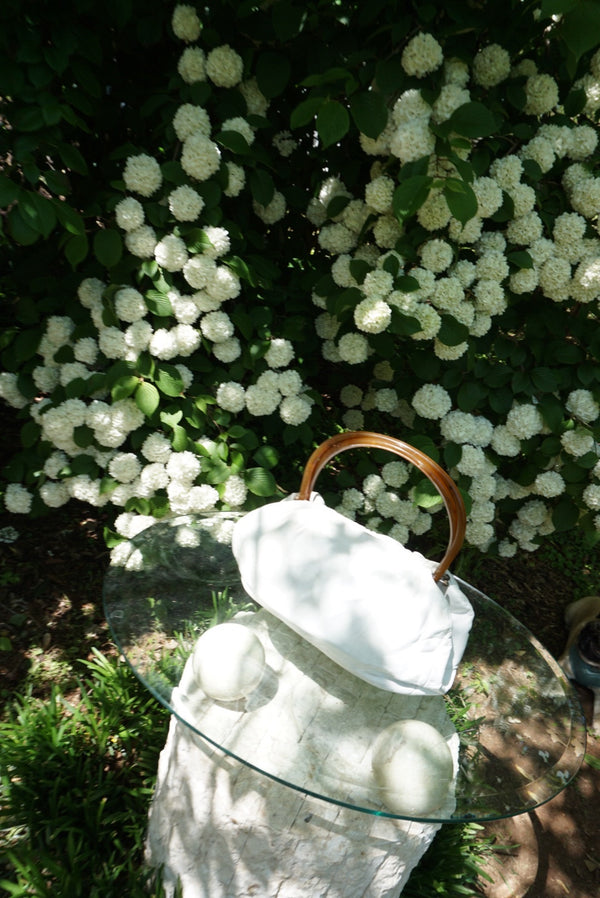 White Leather Handbag Acrylic Handle