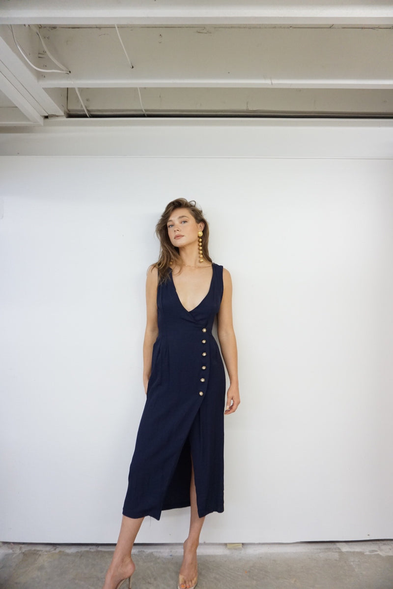 Small/Med Ultra Low Neck 90s Navy Dress