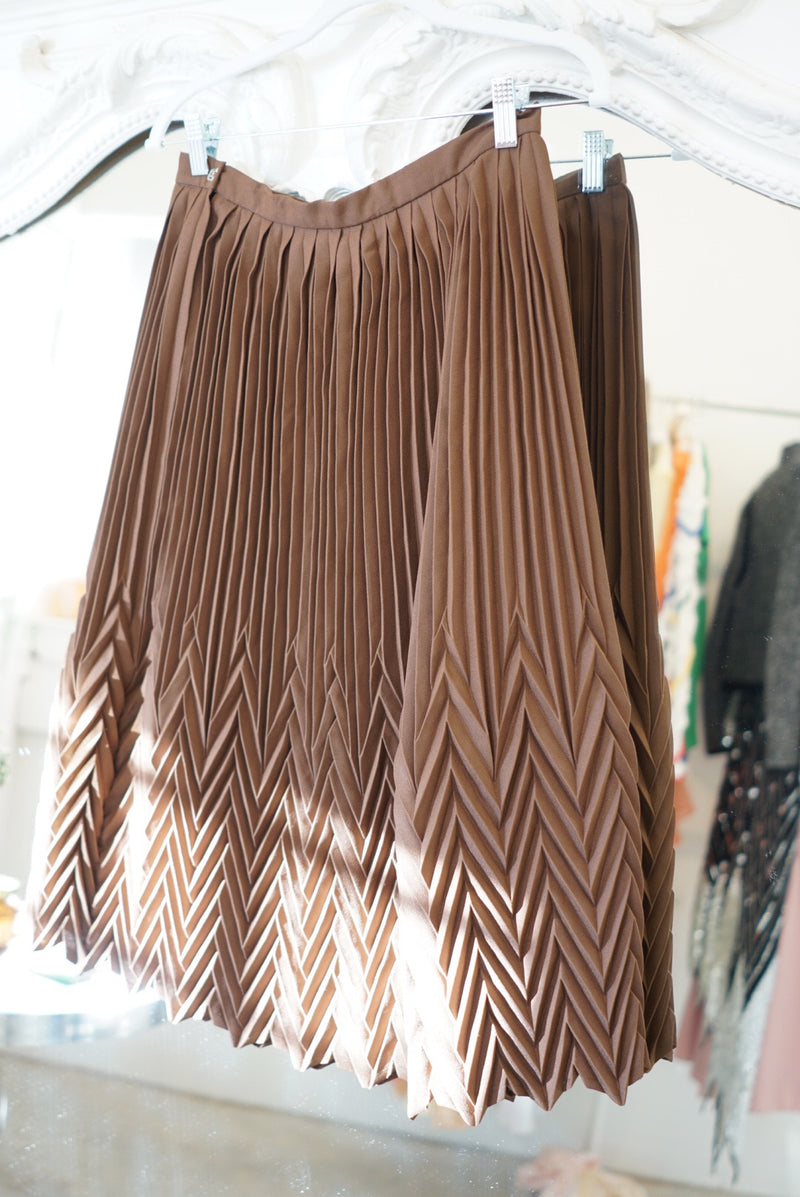 Small/Medium Gingerbread Micro Pleat Skirt