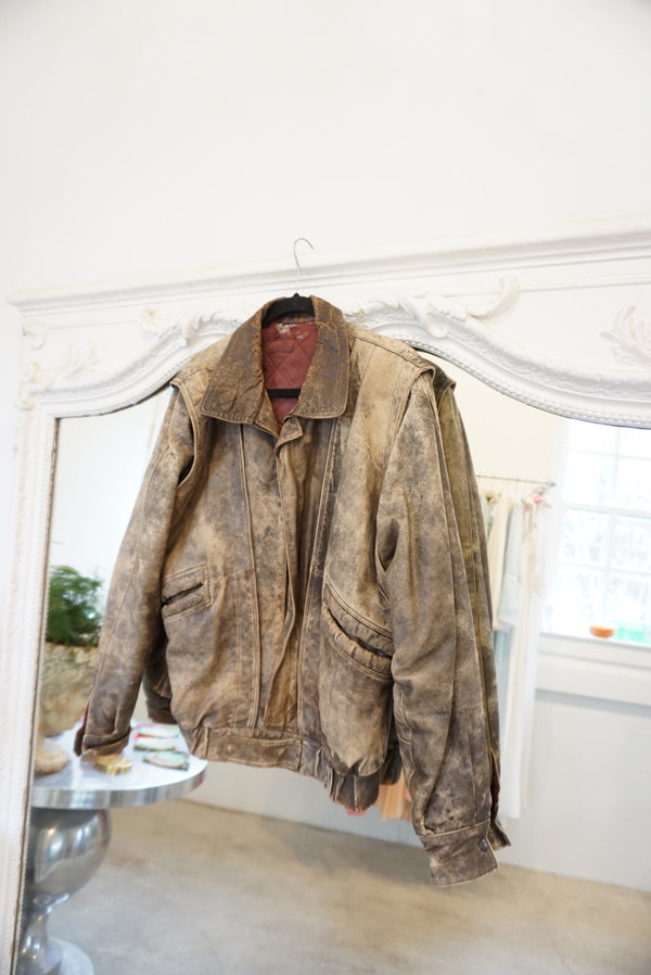 Large Hard Core Brown Leather Bomber Jacket