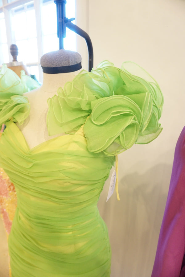 Sz. 6 Neon Lime Chiffon Sleeve Mini