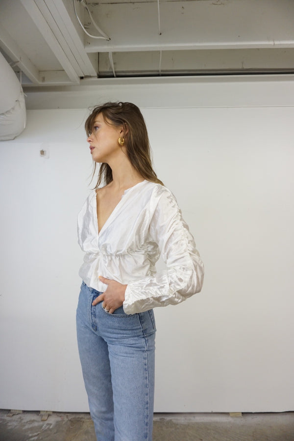 Small/Med 80s Silky Rouche Top