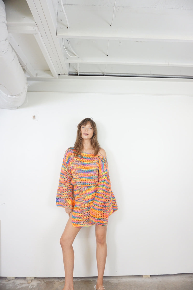 Free Size Rainbow Psychedelic Hand Knit Dress
