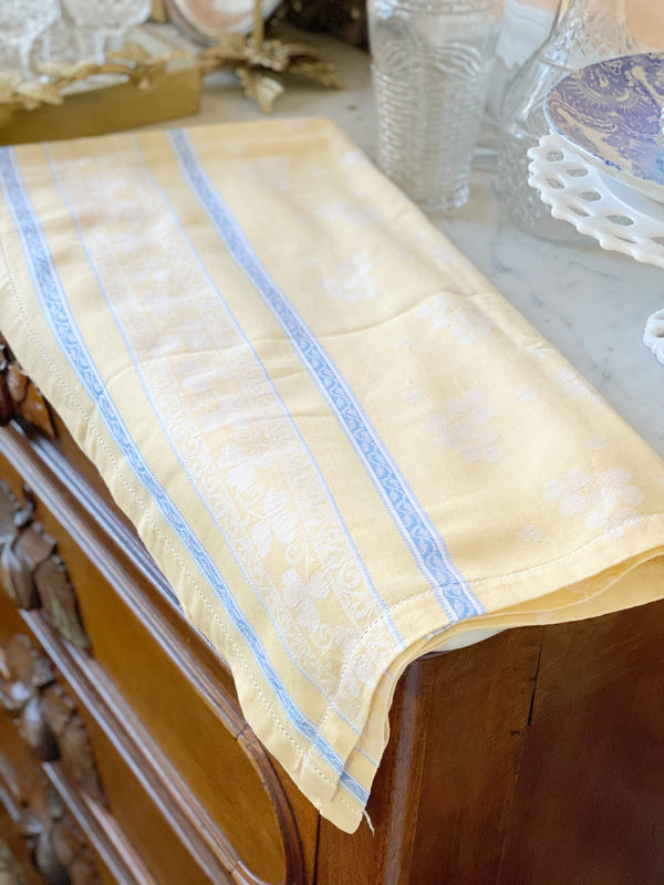 French Blue and Butter Yellow Tablecloth