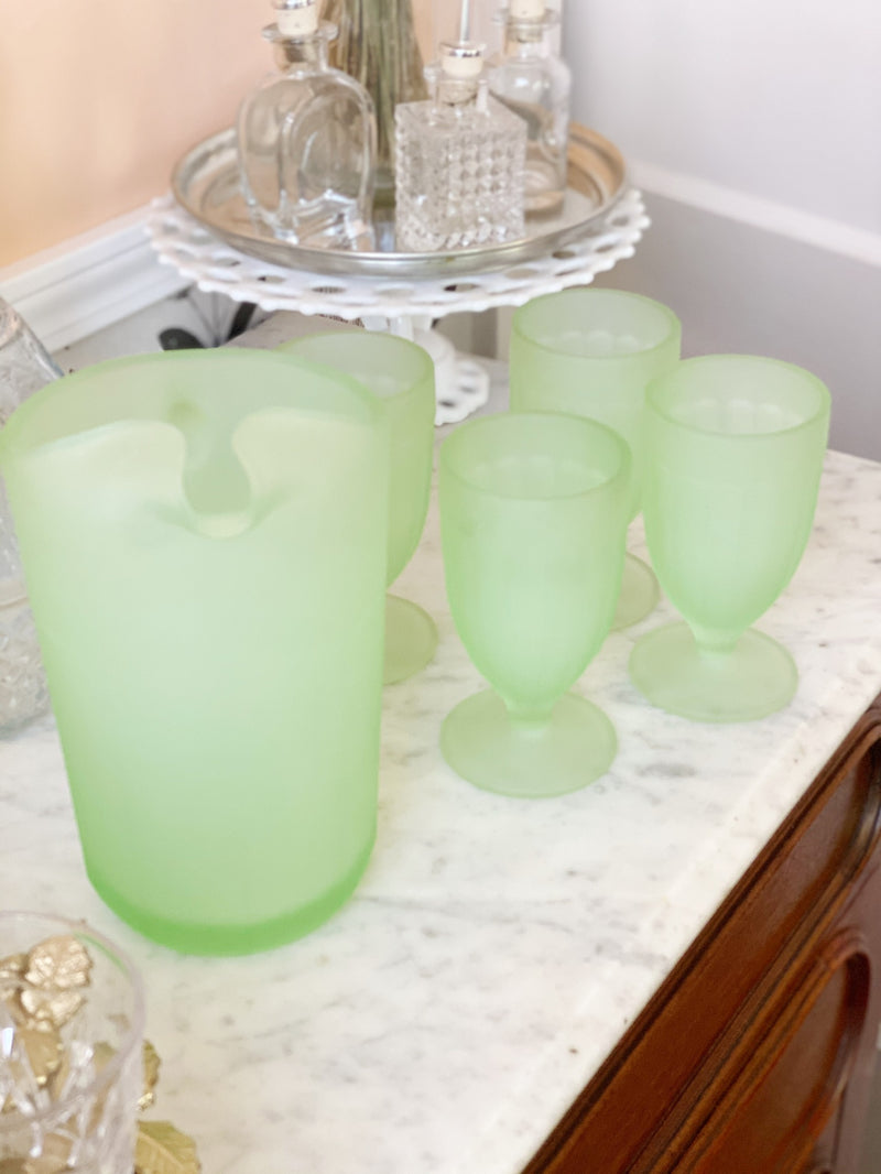 INCREDIBLE Heirloom Quality Jadeite Glass Set