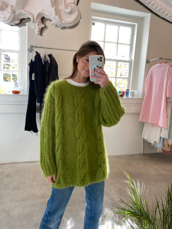 L Chartruese Mohair Cableknit Sweater