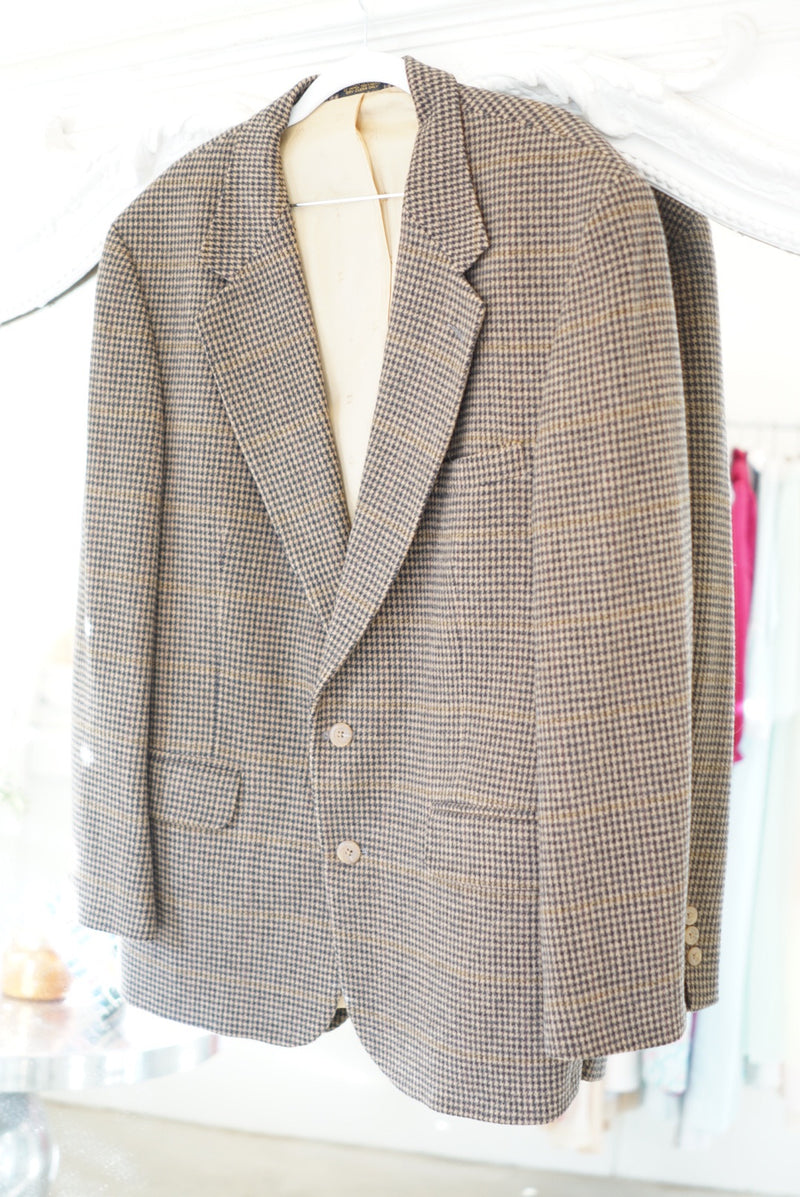 Extra Large Navy & Tan Houndstooth Blazer