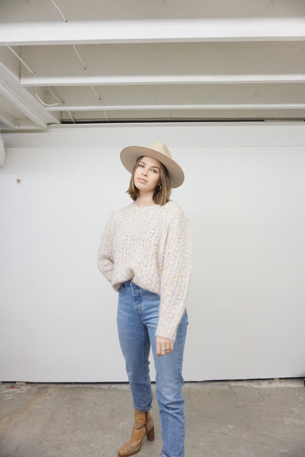 Large 80's Cotton Candy Wool Sweater
