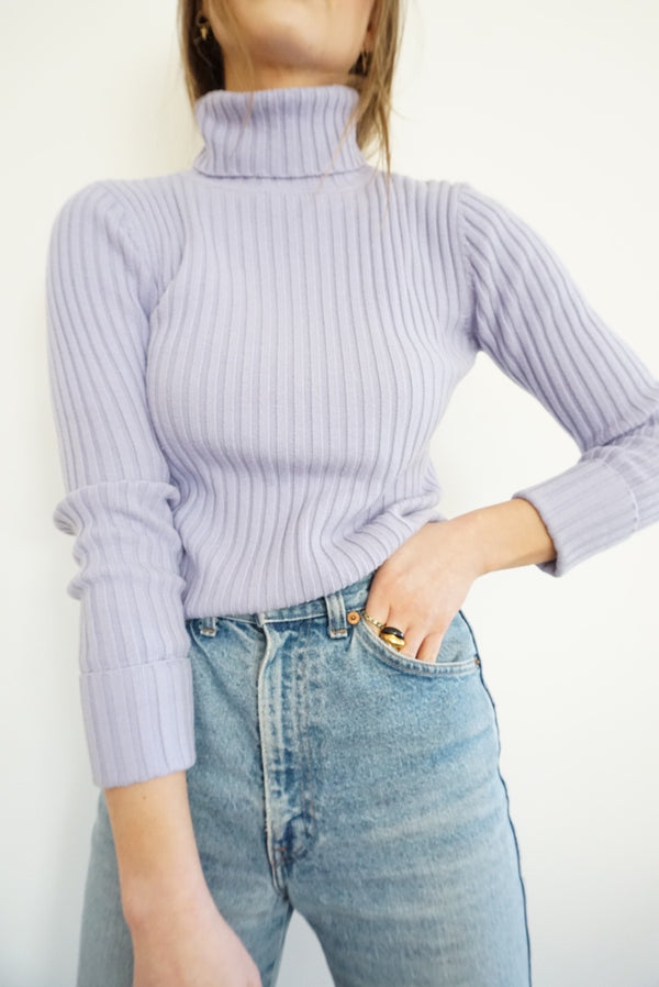 Small Lilac Ribbed Turtleneck