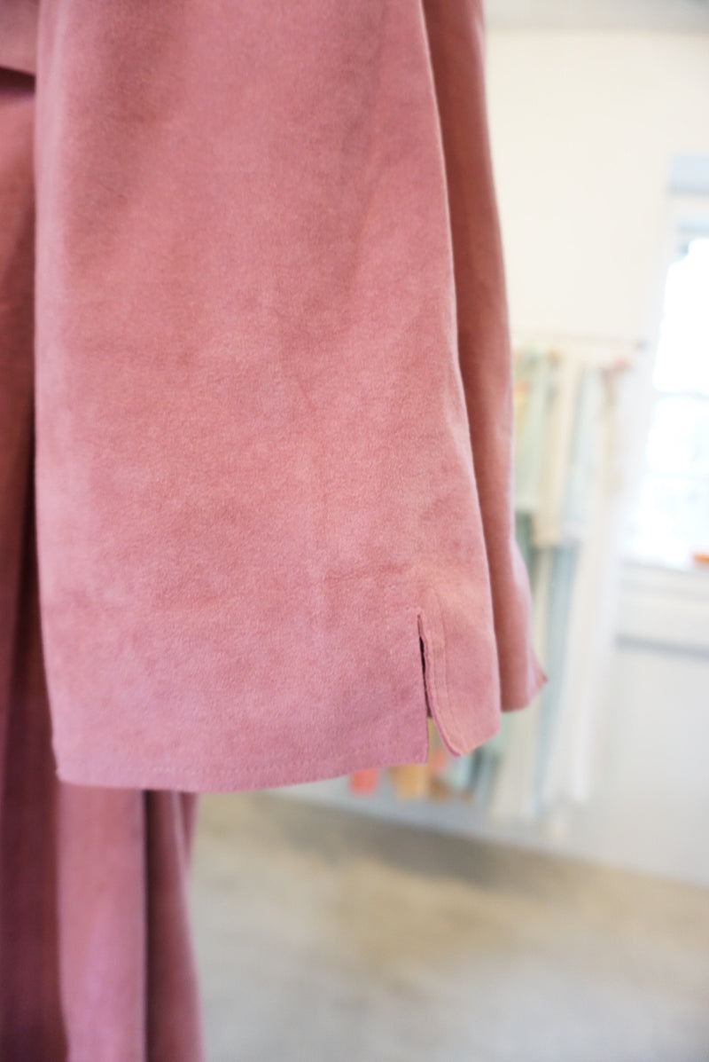 Small Pink Faux Suede Trench