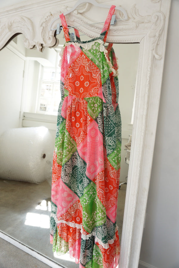 Medium 70's Patchwork Handmade Maxi