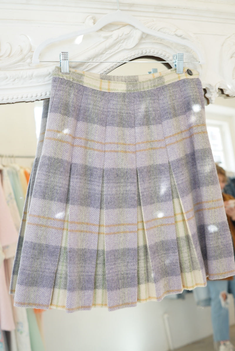 Sz26 60's Wool Pleated Skirt Lavender
