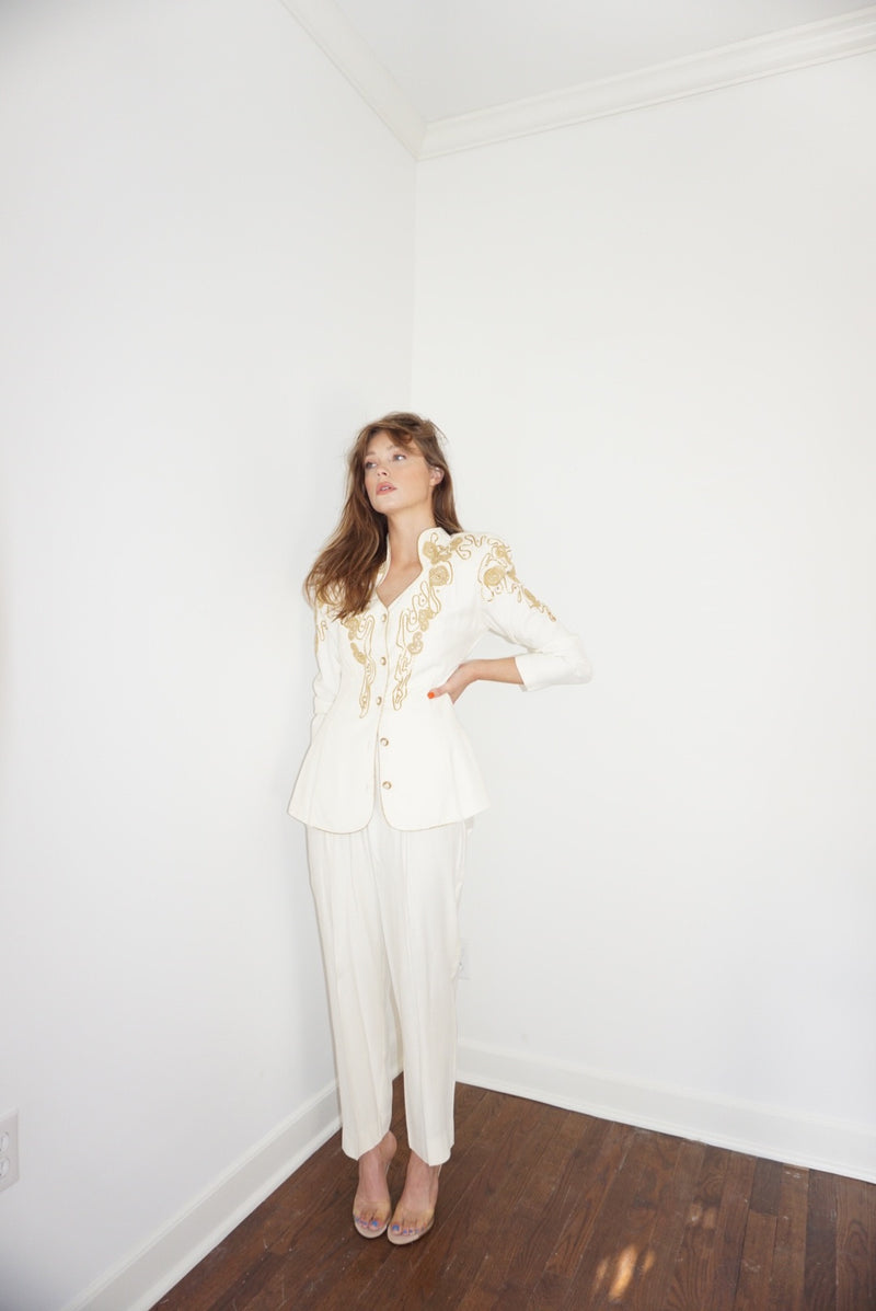 Small/Med 80s Power Suit With Gold Detail