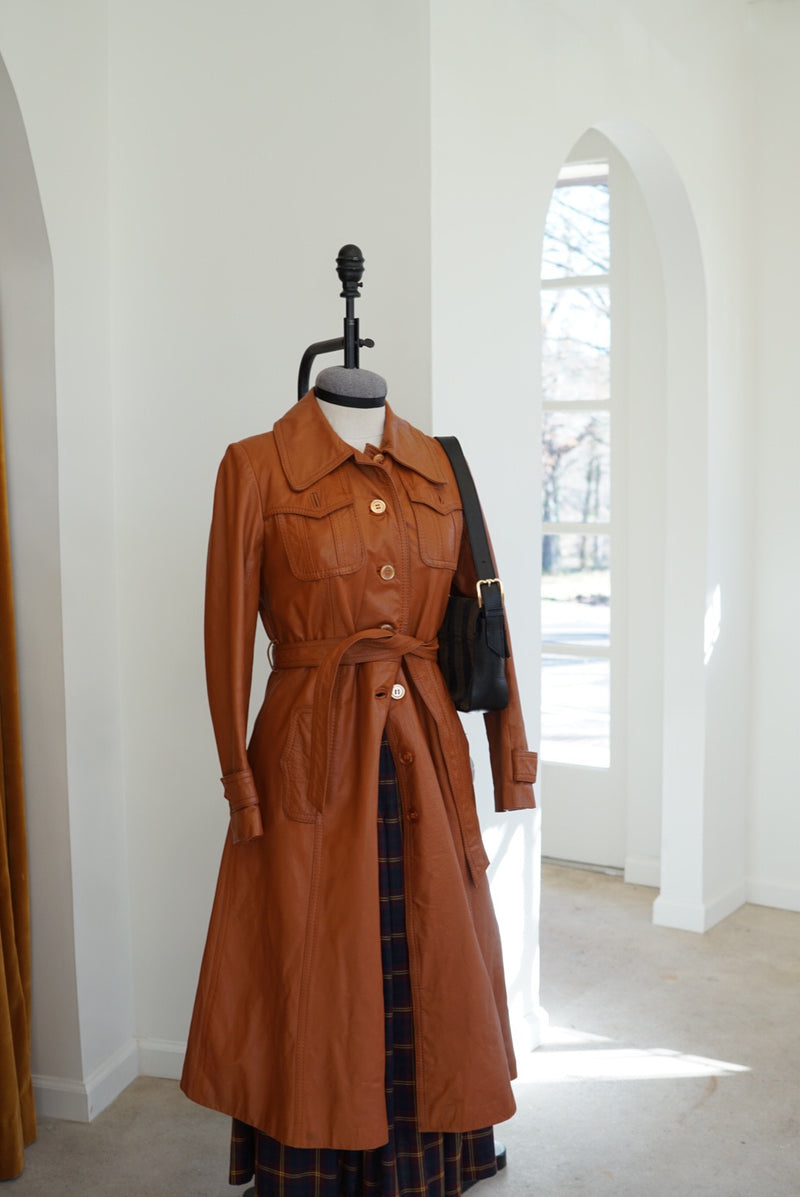 Small 70s Caramel Leather Trench