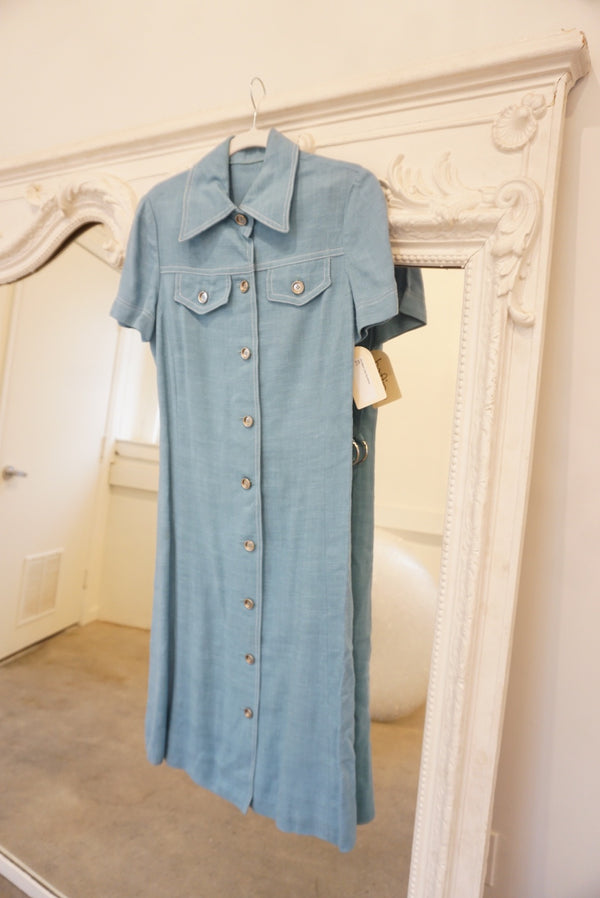 Small/Medium 70's Blue Linen Sundress