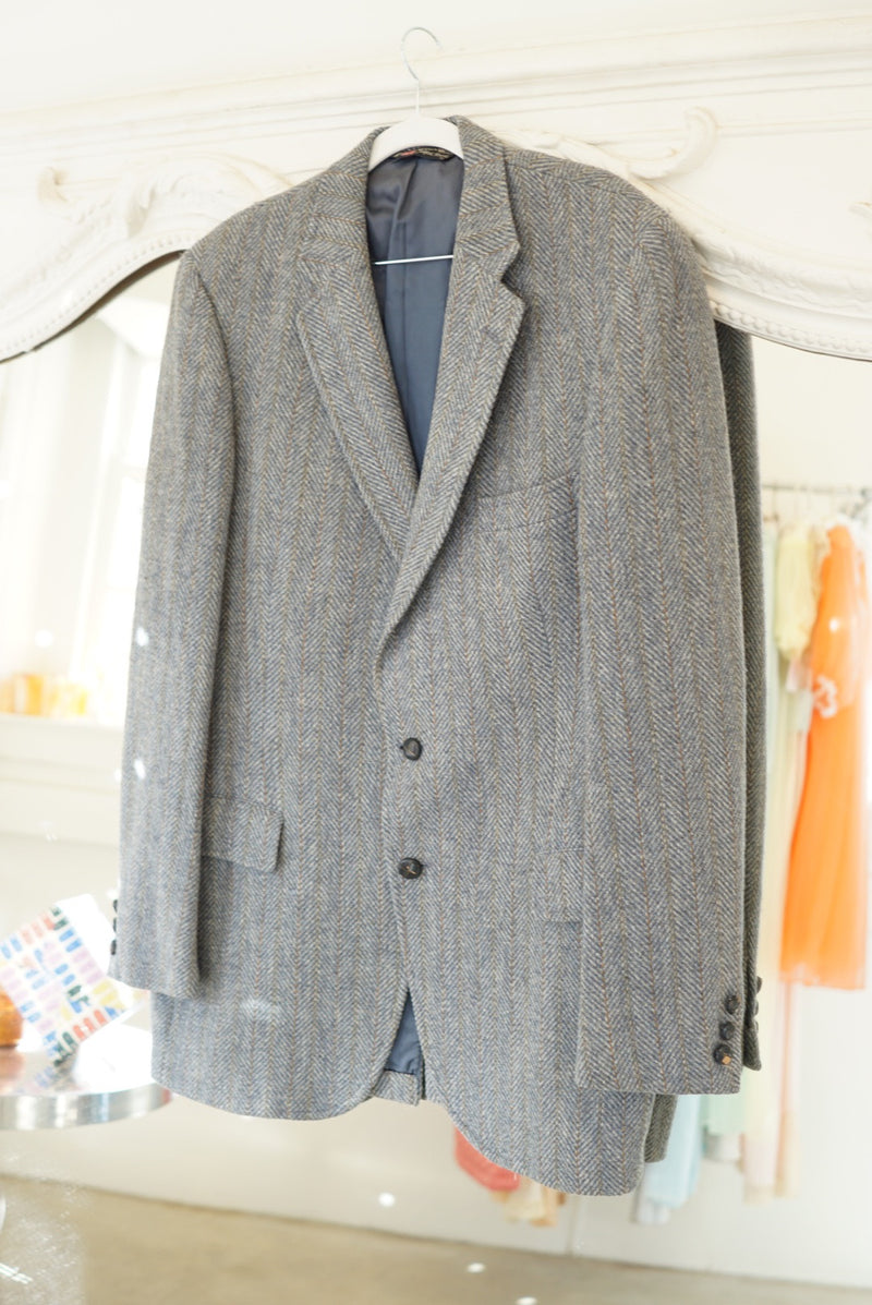 Extra Large Perfect Blue Tweed Wool Blazer