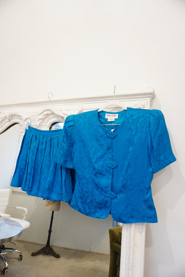Small 80's Cerulean Blue Silk Set
