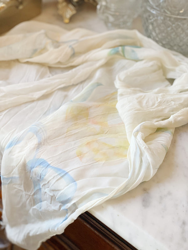 Painted Cream Silk Scarf