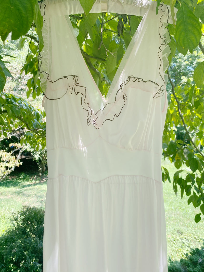 Small Romantic Lace Slip with Piping Detail