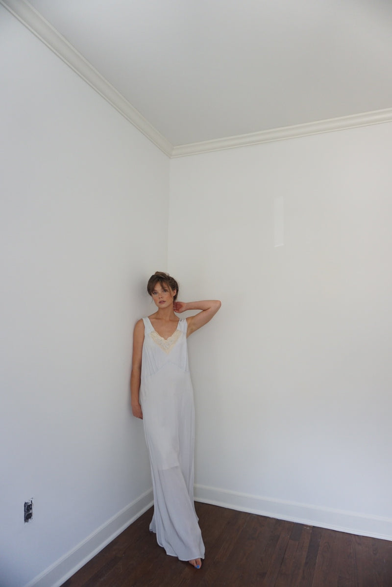 Large/XL Baby Blue 40s Rayon Slip Dress